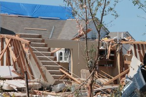 Home hit by a severe storm