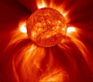 CME - coronal mass ejection from solar flares can cause a huge electromagnetic disturbance on earth and wipe out electronics and electricity service